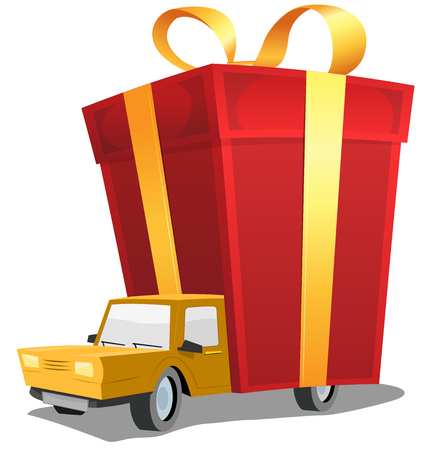 Illustration of a cartoon car carrying and delivering red christmas or birthday present on trailer Vector