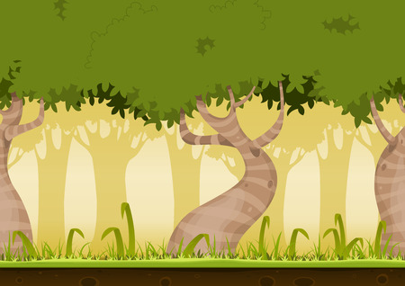 forest background: Illustration of a cartoon seamless horizontal spring or summer forest landscape background loop, with funny striped weird trees, grass, lawn and soil