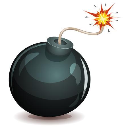 Illustratie van een cartoon bom pictogram op ontploffen met brandende lont, geïsoleerd op wit