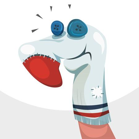marioneta: Ilustraci�n de un hecho de car�cter marioneta de mano de divertidos dibujos animados de t�teres y teatro para ni�os