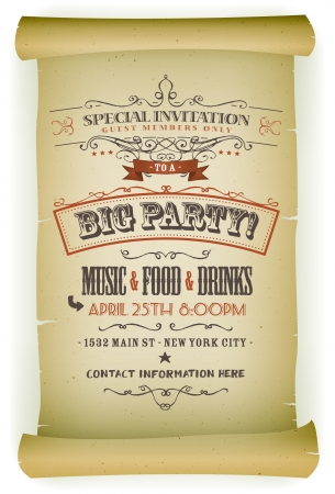 floral scroll: Illustration of a retro vintage parchment scroll with invitation to a big party, contains floral patterns, sketched banners and grunge old paper texture