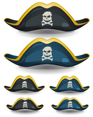 sombrero pirata: Ilustración de un conjunto de dibujos animados pirata o corsario sombrero con la cabeza de calavera y huesos cruzados insignia Vectores