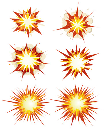 collision: Illustration of a set of comic book explosion, blast and other cartoon fire bomb, star bursting, bang and exploding symbols