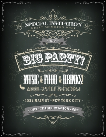Illustration of a retro poster for invitation to a big party with floral patterns, sketched banners and vintage grunge texture on chalkboard background