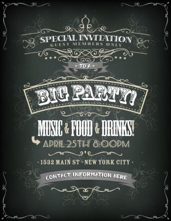 Ilustración de un cartel retro de la invitación para una gran fiesta con estampados de flores, pancartas boceto y la textura del grunge de la vendimia en fondo de la pizarra Foto de archivo - 25282320