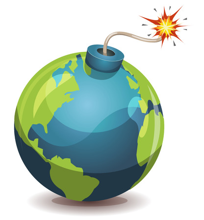 burning time: Illustration of a cartoon earth planet bomb icon about to explode with burning wick, isolated on white