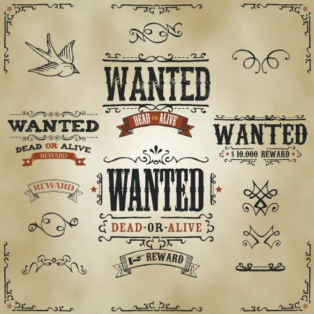 sketched: Illustration of a set of hand drawn vintage old wanted, dead or alive, reward western movie placard banners, with sketched floral patterns, ribbons, and far west design elements on striped background
