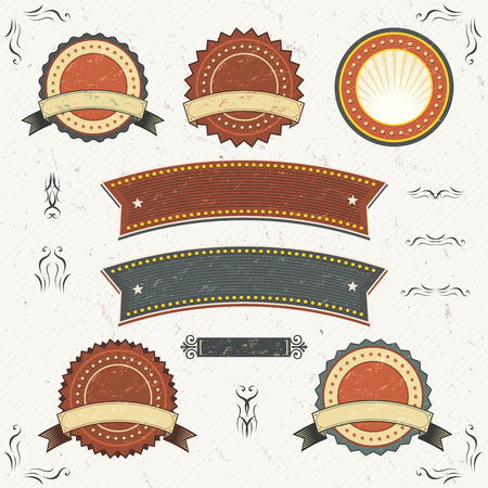 Illustration of a collection of design grunge vintage banners, labels, seal stamper, also with floral shapes