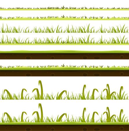 Illustratie van een reeks van verschillende groene grassprietjes lagen templates, met dunne en grote bladeren en de grond bodem uitzicht voor de lente of zomer voorgrond