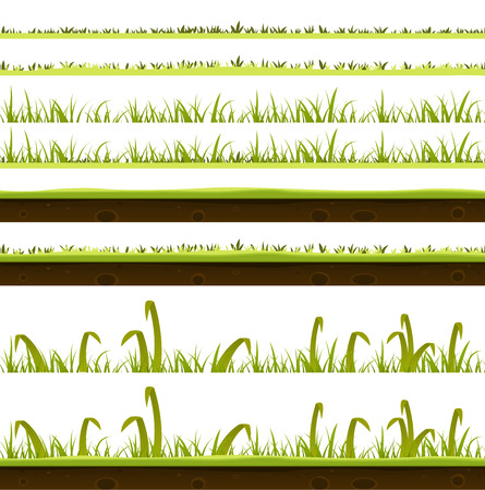 Illustration of a set of various green blades of grass layers templates, with thin and big leaves and ground soil view for spring or summer time foreground