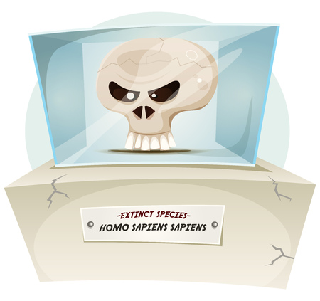 art: Illustration of a cartoon human skull inside museum exhibition, symbolizing extinction of human species