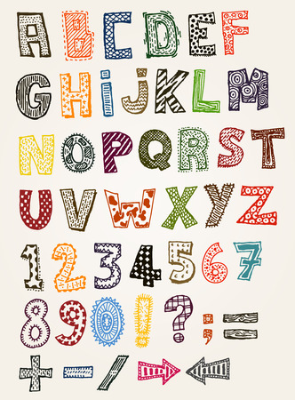 Illustration of a set of hand drawn sketched and doodled kids letters and font characters