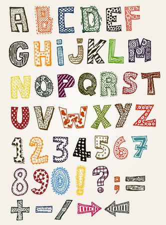 Ilustración de un conjunto de dibujado a mano esbozado y garabateó literatura niños y caracteres de la fuente Foto de archivo - 26051949
