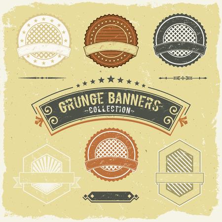 stamper: Illustration of a set of design grunge vintage banners, labels, seal stamper and ornaments patterns