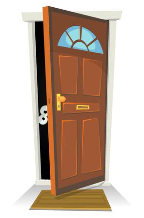 Ilustración de un personaje de dibujos animados humano o criatura oculta detrás de la puerta roja abierta