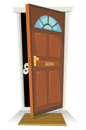 puerta abierta: Ilustración de un personaje de dibujos animados humano o criatura oculta detrás de la puerta roja abierta Vectores