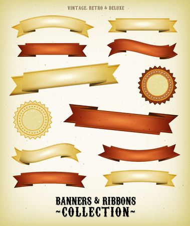 Illustration of a collection of vintage retro banners, signs and scrolls with grunge texture and deluxe style