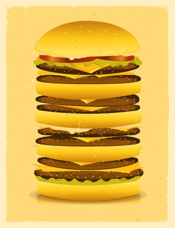 disgusted: Illustration of a vintage super sized burger