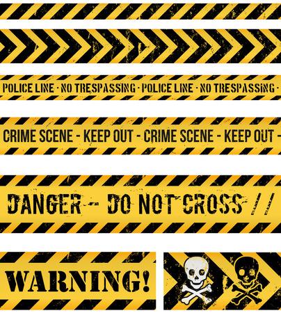Illustratie van een set van naadloze grunge politie lijnen, gevaar teken, misdaad en waarschuwing tapes Stock Illustratie