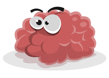 Illustration of a funny cartoon brain character Illustration