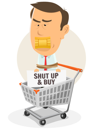 chipset: Illustration of a cartoon man character prisoner inside shopping cart with credit card chipset on mouth Illustration