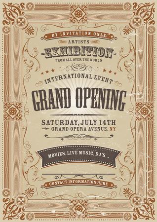 グランド ・ オープニングの展覧会にヴィンテージの招待状の背景のイラスト