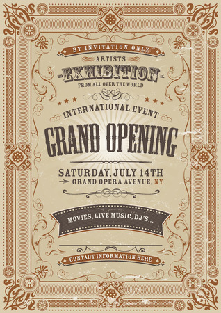 Illustration of a vintage invitation background to a grand opening exhibition
