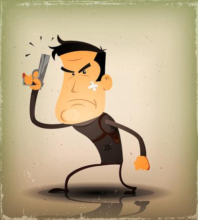 self defense: Ilustraci�n de un h�roe de polic�a civil, c�mico o un cartel secreto car�cter de agente, la celebraci�n de una pistola autom�tica en la posici�n de defensa personal