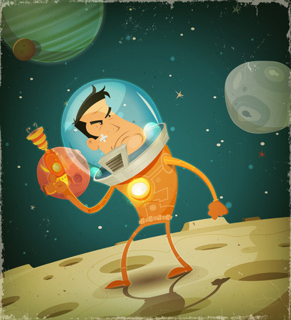 scifi: Illustration of a cartoon comic astronaut hero character in scifi cosmos