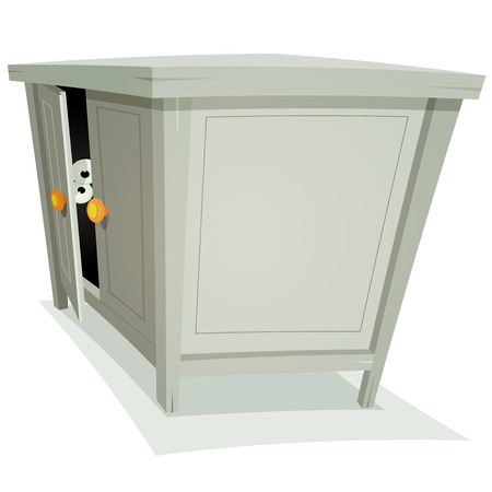 spying: Illustration of a cartoon furniture with eyes spying behind door