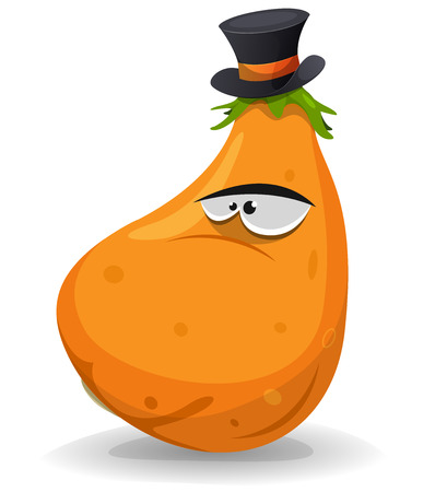 marrow squash: Illustration of a cartoon funny pumpkin vegetable character wearing hat
