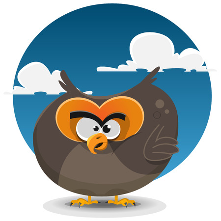 Illustration of a funny cute comic rounded owl bird character standing Stock Vector - 26040873