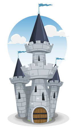 castle tower: Illustration of a cartoon old medieval castle fortress, with donjon tower, rocks and stones wall, big wood armored door and flags in the wind