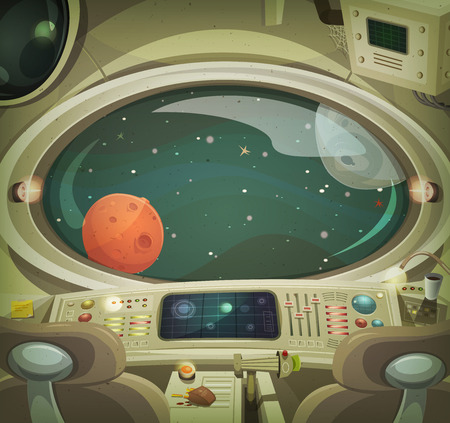 Illustration of a cartoon graphic scene of cosmic spacecraft interior traveling through scifi cosmos