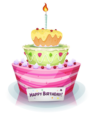pink cake: Illustration of a cartoon appetizing, mouth watering birthday and anniversary holidays cake, with sweet, fruits and cream Illustration