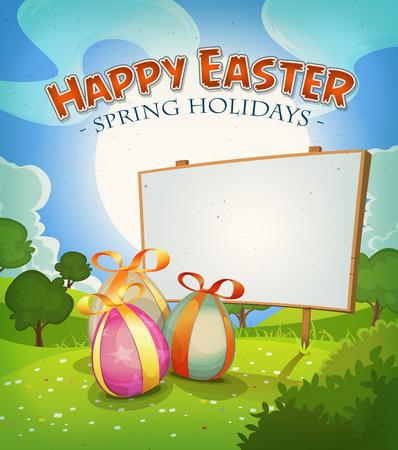 arbol de pascua: Ilustraci�n de una caricatura feliz Pascua de fondo vacaciones en primavera o verano, con los huevos de chocolate, regalos del paisaje del pa�s y muestra de madera anuncio Vectores