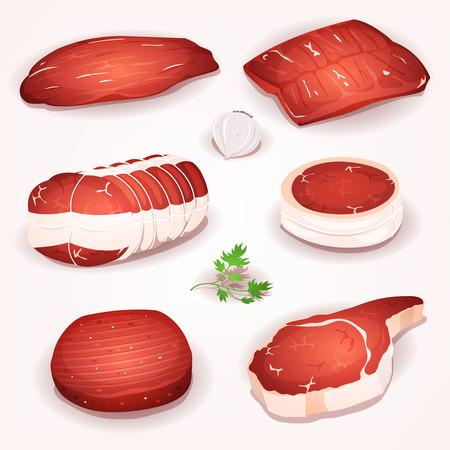 rindfleisch roh: Illustration aus einer Reihe von Comic-St�cke von rohem Rindfleisch, mit Steak, Braten und Scheiben