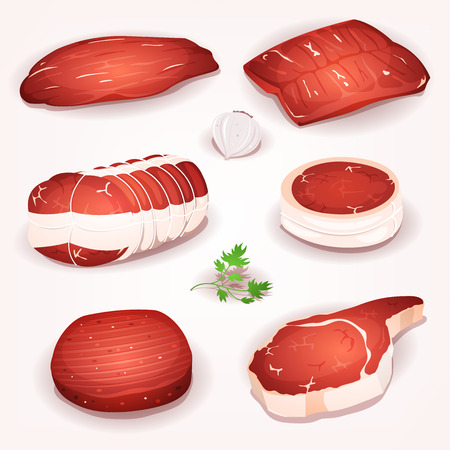Illustration of a set of cartoon pieces of raw beef meat, with steak, roast and slices Illustration