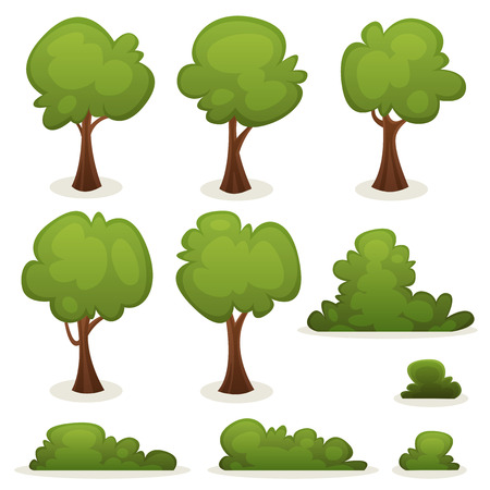 Illustration of a set of cartoon spring or summer trees and other green forest elements, with bush, hedges Vector