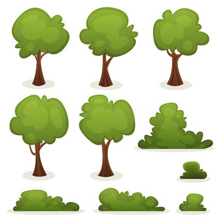 arboles de caricatura: Ilustración de un conjunto de primavera o verano árboles de dibujos animados y otros elementos del bosque verde, con arbustos, setos