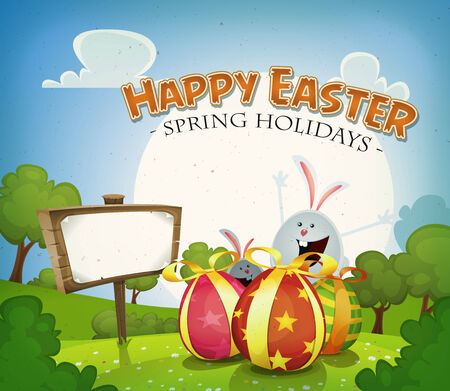 chocolate background: Illustration of a cartoon happy easter holidays background in spring or summer season, with happy rabbits and bunnies bringing chocolate eggs gifts, country landscape and announcement wood sign