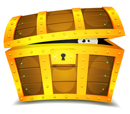 Illustration of a cartoon treasure chest with funny creature eyes spying from inside