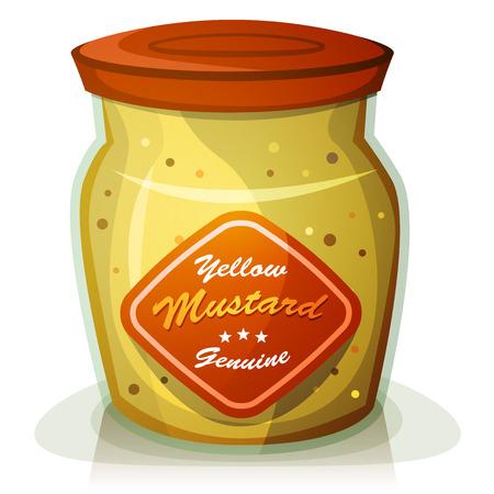 condimentos: Ilustraci�n de un franc�s cl�sico bote de mostaza amarilla de dibujos animados de Dijon, en el crisol de cristal apetitoso