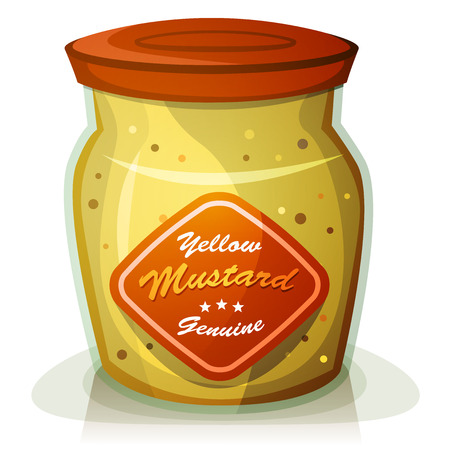 Illustration of a cartoon classic french yellow mustard pot from Dijon, in appetizing glass pot