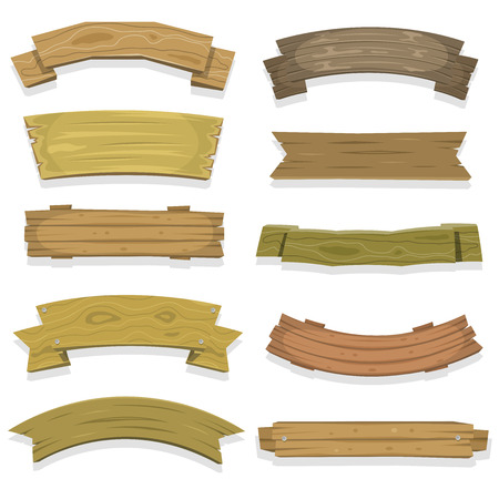 Illustration of a set of cartoon spring wooden award ribbon and texas ranch banners, for agriculture and farm seal and certificates