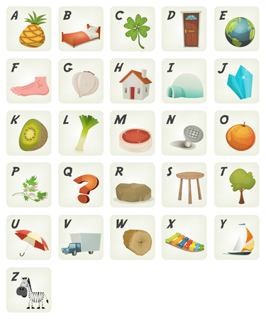 vocabulary: Illustration of a set of cute cartoon ABC letters and font characters from ananas to zebra for school and preschool kids