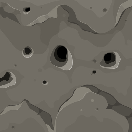 Illustration of a cartoon nature mountain stone rock or cliff wall with relief, holes and hollows Vector