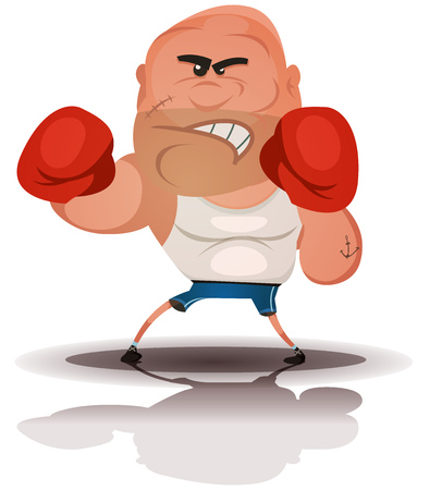 beefy: Illustration of a cartoon champion english boxer or fight sports hard-boiled character, isolated on white background Illustration