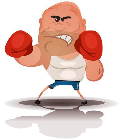self defense: Ilustraci�n de un campe�n de la historieta Ingl�s boxeador o luchar deportes car�cter duro, aislado en fondo blanco