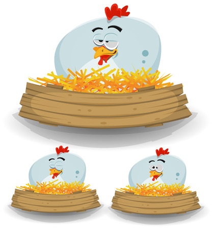 Illustration of a cute funny cartoon chicken hen character nest, setting farm eggs with wood blank empty banner for rural restaurant, agriculture or easter holidays background Illustration